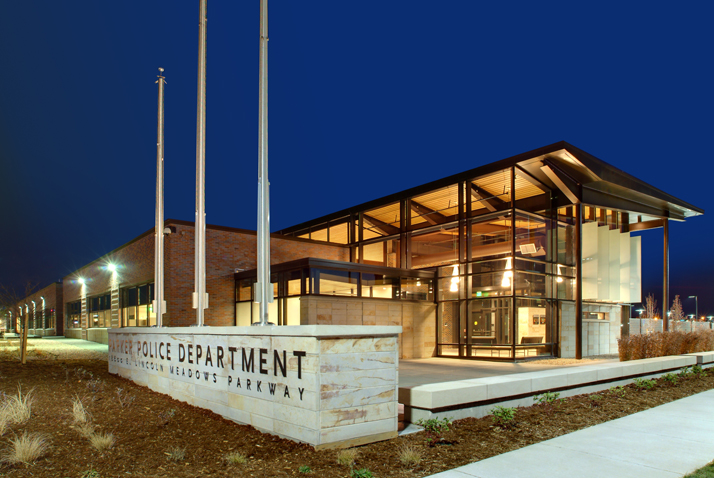 Police Department at Night