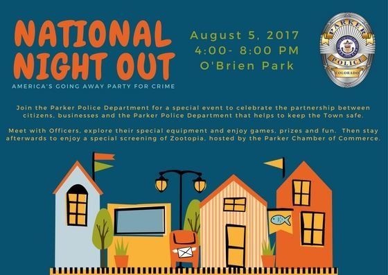 A poster with the information about the dates and times of National Night Out